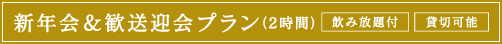 新年会・歓送迎会プラン(2時間)飲み放題付・貸切可能
